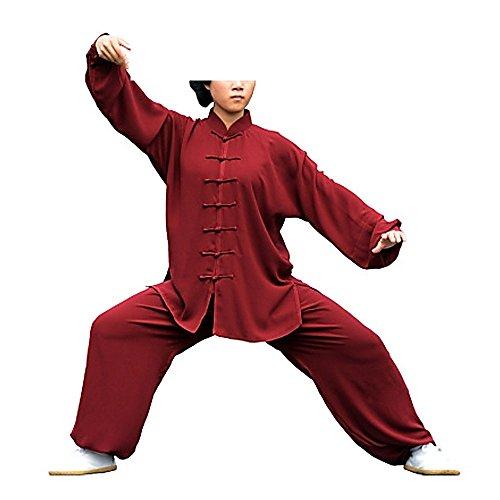 KIKIGOAL Unisex Tai Chi Anzug Damen und Herren Kung Fu Uniformen Kampfsport Baumwolle Flachs und Seide Chinoiserie, Weinrot, 4XL