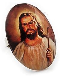 Óvalo grande Jesúsen anillo de Metal tono plata - ajustable ...
