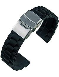 Nuevo Negro Correa de caucho banda reloj 22mm Diver nuevo negro silicona cierre