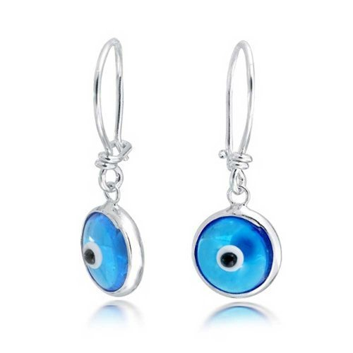 Bling Jewelry .925 Silver Evil Eye Blue Dangle Earrings
