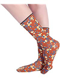 ec443c39790 KaloryWee Socks Women Summer Causal Fashion Flower Print Middle Tube Leg  Socks