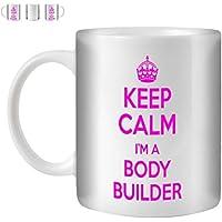 STUFF4 Tazza di Caffè/Tè 350ml/Bodybuilder/Pink Text/Keep Calm I'm.../Ceramica