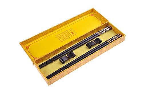 Quantum Abacus Black Metal Set de Baguettes de Luxe en Alliage métallique dans Coffret Cadeau - 2 Paires des Baguettes en métal Noir, 2 Supports en Bambou, SC-H-S2-ML-06