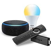 Echo Dot (Black) bundle with Fire TV Stick and Wipro 9W smart white bulb