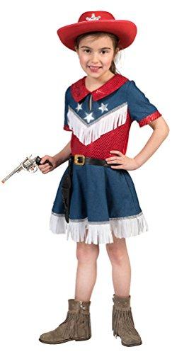 Karneval-Klamotten Cowgirl Kostüm Kinder Mädchen Cowboy Jeans rot blau Western-Kostüm Karneval Mädchen-Kostüm Größe 128
