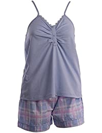 Slenderella Ladies Lightweight Pyjamas Spaghetti Strap Jersey Top   Tartan  Shorts (Blue or Pink) 49921b28a