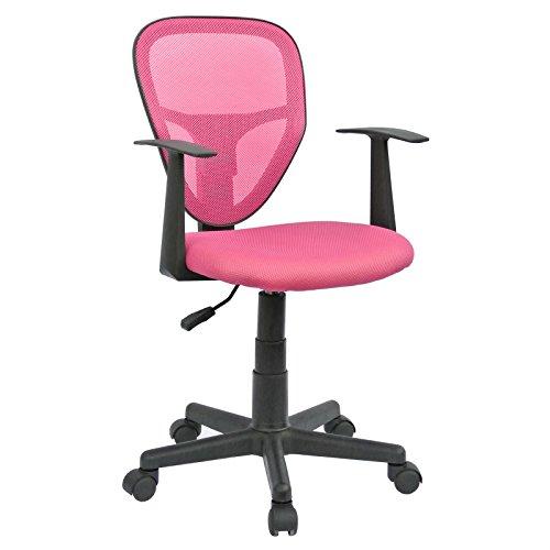 Schreibtischstuhl Kinderdrehstuhl Bürostuhl Drehstuhl STUDIO in pink rosa mit Armlehnen, höhenverstellbar (Mädchen Bürostuhl)
