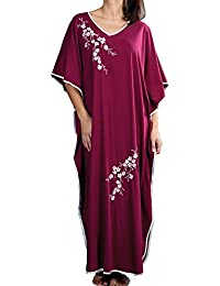 Ladies One Size Kaftans Floral Embroidered Satin Edging Full Length 11a279b1f