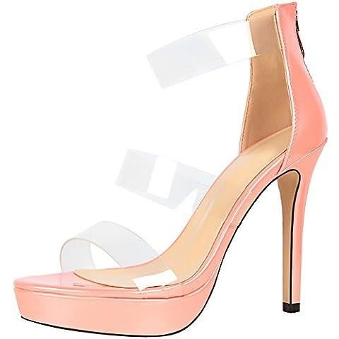 Plateforme Stiletto Femmes Mariage Sandales Cuir verni Chaussures talons hauts