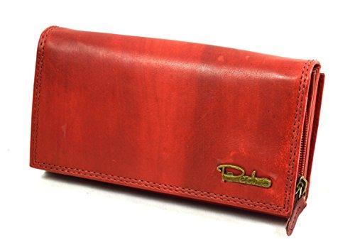 Große Damen Leder Geldbörse Damen Portemonnaie mit viel Stauraum in Red Vintage Design mit 22 Kartenfächern