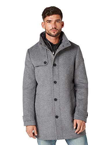 Tom tailor - cappotto classico da uomo in lana mid grey wool jacket structure xl
