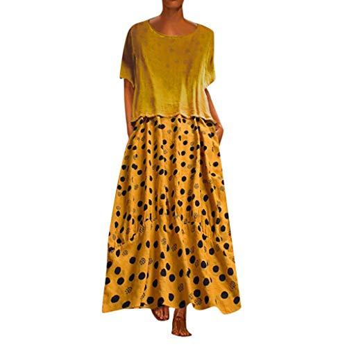 Frauen Sommer Casual Maxi-Kleid Oansatz Punkt Druck Kurzarm Freizeitkleidung Lose Atmungsaktiv Strandkleid Elegant Bequem Strandkleid -
