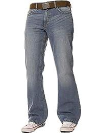 FBM Jeans Pantalon Jean de Travail Bootcut Denim Bleu délavé pour Homme,  Coupe Ample, f2cfed6e56e6