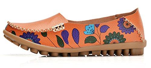 Auspicious beginning Moccasins piani stampati fiore Comfy che guidano i pattini incinti delle donne dei pattini Arancione