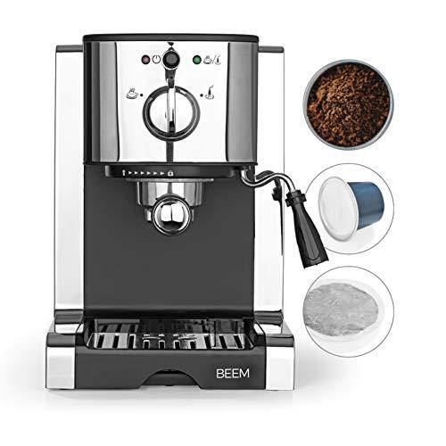 T | Espresso-Siebträgermaschine - 20 bar | BASIC SELECTION | Silber | Integrierte Milchschaumdüse | Nespresso Kapsel Kompatibilität ()