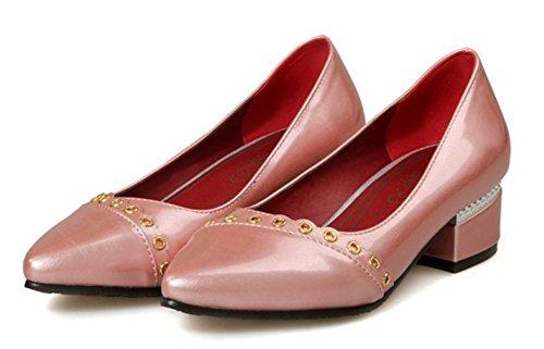 Aisun Damen Asakuchi Pointed Toe Niedrig Absatz Pumps Pink 37 EU xtpPWpDRh