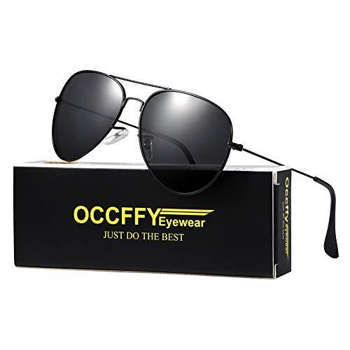Occffy Pilotenbrille Sonnenbrille für Herren und Damen UV400 Schutz Metall Rahmen (Schwarze Rahmen mit Schwarze Linse)