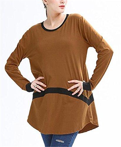 AILIENT Donna Slim Fit Collo Rotondo Manica Lunga T-Shirt Camicia Casual Maglietta Lunga Orlo Irregolare Camicia Cucitura Tops Lungo Maglie Eleganti Yellow