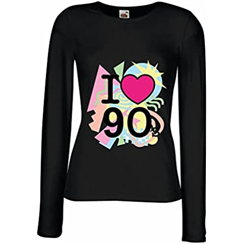 N4540M Mangas largas Camiseta de la hembra I Love 90's!