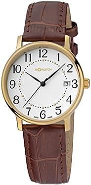 ساعة انيقة وكاجوال بعرض انالوج ومينا ابيض صناعة سويسرية للنساء من ام واتش، قطر 35 ملم، WRE.45210.LG