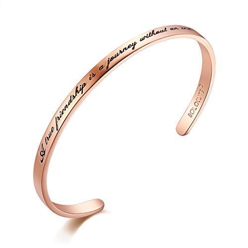 "SOLOCUTE Damen Armband mit Gravur ""A true friendship is a journey without an end"" Inspiration Frauen Armreif Schmuck"