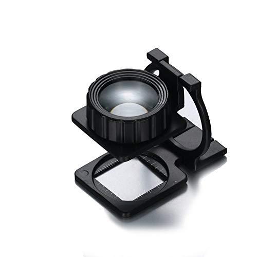 ZJ-FDJ 10X sobremesa Plegable Foto Negro Tela Espejo impresión Punto Lupa Lectura...