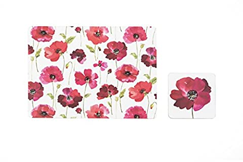 Sabichi Poppy Placemat and Coaster Set, Red