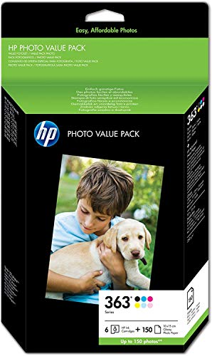 HP 363 Photo Value Pack mit 6 Druckerpatronen und Fotopapier 10 x 15 cm/150 Blatt, Q7966EE - Tinte 3210 Photosmart Hp