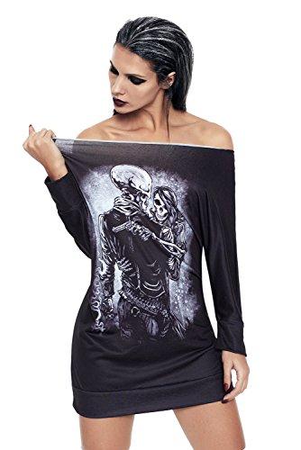 AMOYER Frauen Bandana Gangsta Girl-Mini-Jersey-Kleid