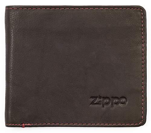 Zippo - Cartera y Tarjetas de crédito con Monedero, de Piel Mocha (marrón)