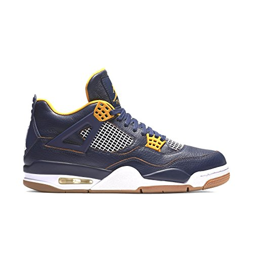 Nike Herren Air Jordan 4 Retro Fitnessschuhe, blau/gelb/weiß (Mid NVY/Mtllc gld Lf-White-), 41 EU -