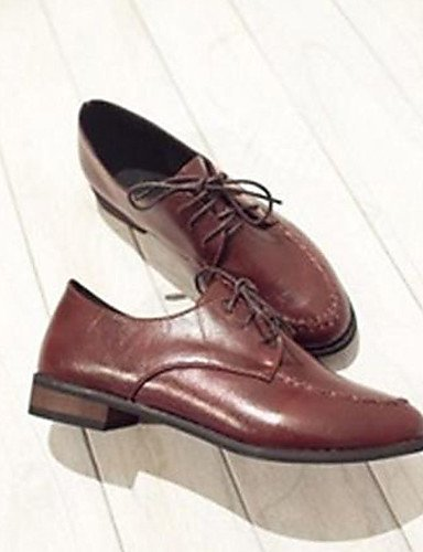 ShangYi Chaussures Femme - Décontracté - Noir / Marron - Gros Talon - Bout Arrondi - Richelieu - Faux Cuir Black