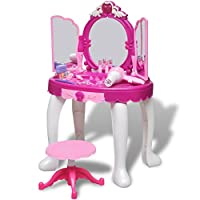 Festnight Girls Princess Dressing Table Pretend Play Set Vanity Tables with Stool Light Mirror and Sound