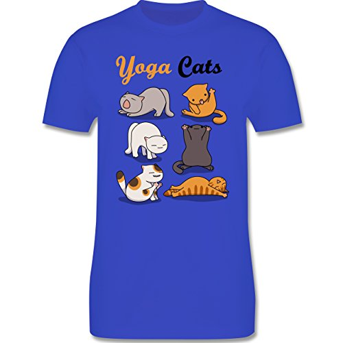 Statement Shirts - Yoga Cats - Herren Premium T-Shirt Royalblau