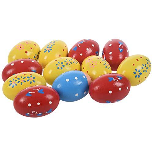 REFURBISHHOUSE12 Stücke Shaker Eier Holz Ei Shakers Percussion Musical Maracas Ei Spielzeug Für Kinder Kleinkinder