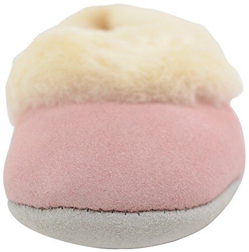 Snugrugs Damen Elena, Sheepskin Ballerina Slipper Hausschuhe Pink (Pastel Pink)
