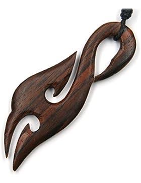 Maori Schmuck aus Holz, Kettenanhänger zeitlos natürlich Länge 7cm, inkl Textilband
