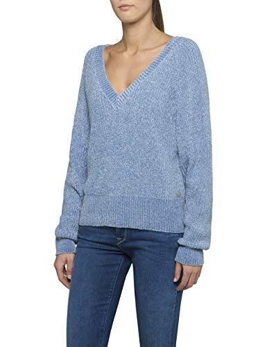 Replay Damen DK6037.000.G22730 Pullover, Blau (Light Azure 110), Large (Herstellergröße: L)