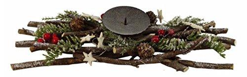 Tannenzapfen-kerze Kranz (Adventskranz Leuchterkranz für 1 Kerze 36 cm lang mit Ästen, Naturmaterialien,Tannenzapfen, Beeren, Sternen • Weihnachten Weihnachtsdeko Weihnachtsdekoration)