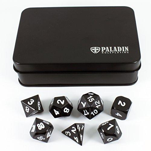Paladin Metallwürfel-Satz für Rollenspiele (RPG) im Geschenkkoffer, Schwarz
