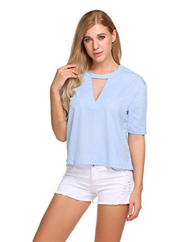 Meaneor Damen Shirt Rückenfrei Bluse mit V-Ausschnitt Kurzarm Oberteil Transparent Spitze Sexy Top Lieferzeit: 1-2 Tage Versand von Europa Blau