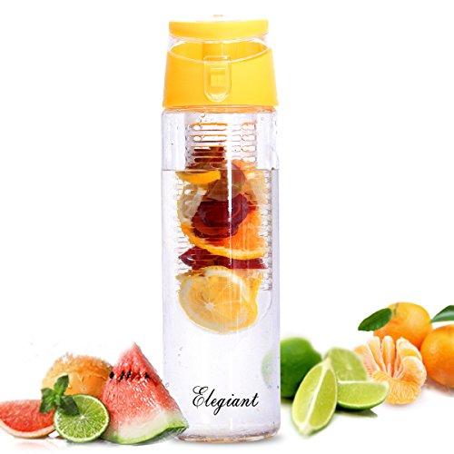 Bottiglia di Frutta, ELEGIANT Bottiglia Sport all'aria Aperta Coppa di Plastica di Limonata Coppe di Frutta 800ml