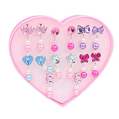 YeahiBaby 7 Pairs of Young Girls Earrings Set Clip-on Jewelry Birthday Gift with Box for Kids (Acrylic)