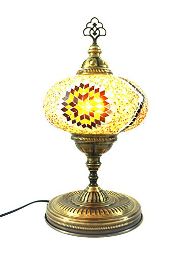 Handgefertigte Orientalisch Türkisch Asiatisch Mosaik Tisch Lampe Innenleuchte Nachttischlampe Beistelllampe Handarbeit Mosaik Glas Tischlampe Glasgröße 5 (Braun) (Braun Glas-tisch-lampe)