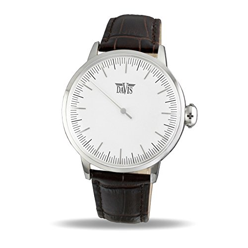 Davis Unisex Erwachsene Analog Quarz Uhr mit Leder Armband 2220