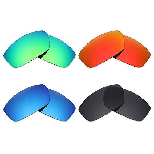 Mryok 4Paar Polarisierte Ersatzgläser für Spy Optic Dirty Mo Sonnenbrille-Stealth Schwarz/Fire Rot/Ice Blau/Smaragd Grün