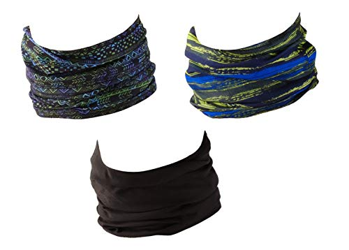 Hilltop 3 x scaldacollo da moto multifunzione/sciarpa da moto/sciarpa/set da 3 pezzi, selezione verde