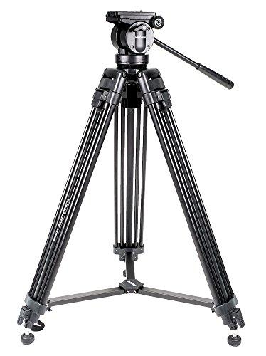 kingjoy VT-2500Professionelles Video-Stativ, 155cm, Aluminium, mit fließendem Video-Kopf