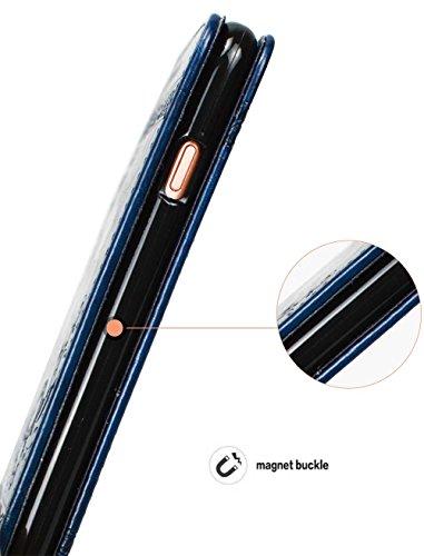 """Coque iPhone 6s, Coque Apple iPhone 6s, SsHhUu Etui Portefeuille en Cuir PU Premium avec Fermeture Magnétique et Stand et Porte cartes avec Stylet + Lanyard pour Apple iPhone 6 / 6s 4.7"""" Marron Clair Bleu"""