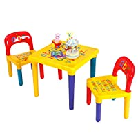 CASART Kids Table and Chair Set, 3 Pieces Alphabet Table & 2 Chairs, ABC 26 Letters Pattern, Educational Present, Plastic Creative Activity Furniture Set